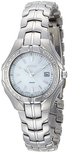 (Seiko Women's SXDB69 Silver-Tone White Mother Of Pearl Dial 22 Diamonds Watch)