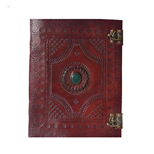 - Single Medieval Stone (Color May Vary) Embossed Handmade Leather Journal Notebook Diary Appointment Organizer Writing Handbook Daily Planner Diary College Sketchbook 7 x 10 inches for Men and Women