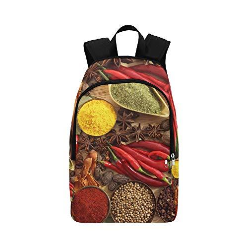 QYUESHANG Spices Seasonings Red Pepper Black Pepper Casual Daypack Travel Bag College School Backpack Mens Women