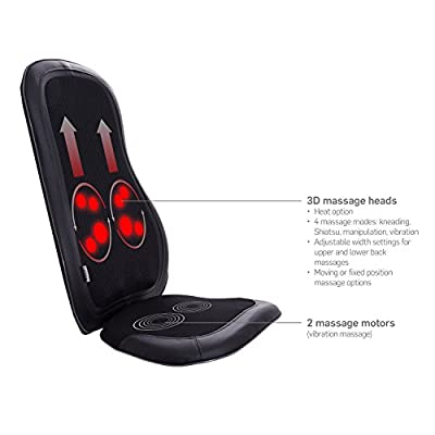 Ivation Shiatsu Massage Chair Vibration Seat with Heat – for Body - Neck - Shoulder - Back, Relieve Stress & Improve Posture & General Health