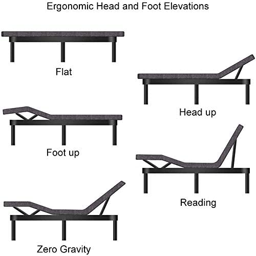 Adjustable Bed BaseFrame Smart Electric Beds Foundation (Twin XL, Gray)