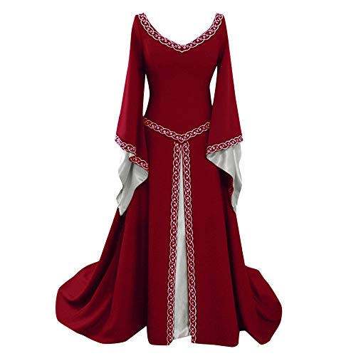 (DondPo Costume Dress Womens Renaissance Medieval Vintage Flare Sleeve Irish Over Long Dresses Cosplay Retro Gown Red)