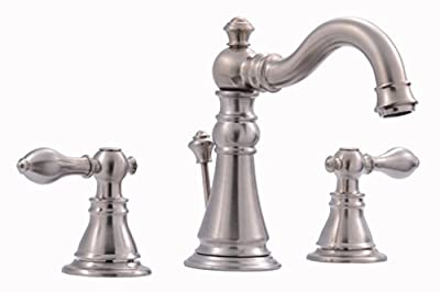 "Derengge 8"" Widespread Two Handle Bathrrom Lavatory Faucet With Pop-up Drain Meets UPC cUPC NSF Lead free AB1953,Brush Nickel"
