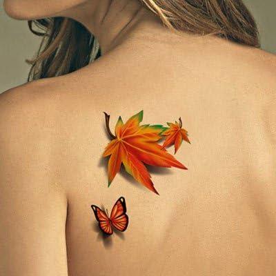 Generic estéreo 3d Adhesivos de color en hoja de arce mariposa ...