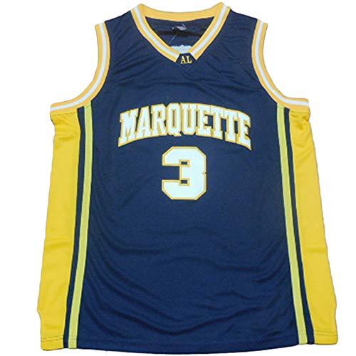 Marquette Collegiate #3 Men's Classic Retro Embroidery Navy Basketball Jersey - M