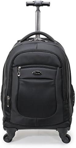 52457c4dd Racini Nylon Waterproof Rolling Backpack, Freewheel Travel School Wheeled  Backpack, Carry-on Luggage with Anti-Theft Zippers (Black)