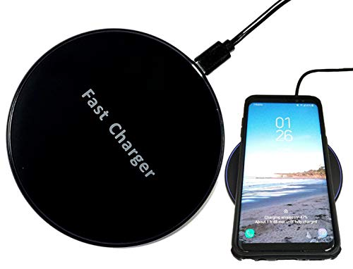 Certified Wireless Fast Charger - 10 Watts Fast Charging Compatible with Most Qi Enabled Devices: iPhone, iPad, Smartphone, Qi Adapter/Receiver (10W Black)