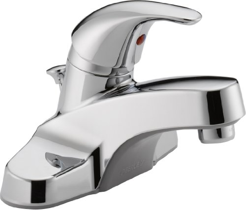 Peerless Single-Handle Centerset Bathroom Faucet with Pop-Up Drain Assembly, Chrome P136LF (Chrome Single Centerset Handle)