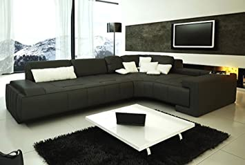 Amazing Amazon Com Franco Collection Modern Sectional Sofa Black Ocoug Best Dining Table And Chair Ideas Images Ocougorg