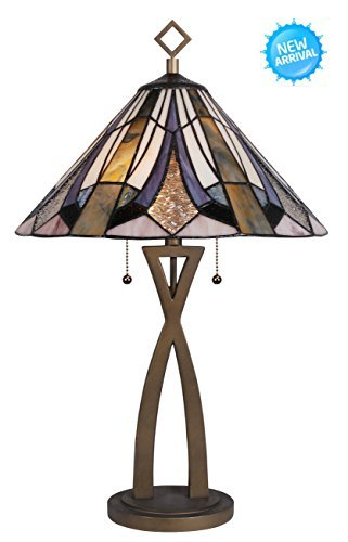 Tiffany Style Table Lamp Desk Lamp PARMA Series 26 Inch Height 2-Light Home & Office Decor Collection Wilsons Lighting WL163849 ()