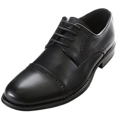 alpine swiss Arve Men's Leather Lace up Oxford Dress Shoes Brogue Cap Toe Blk 14 (Casual Cap Toe Shoes)