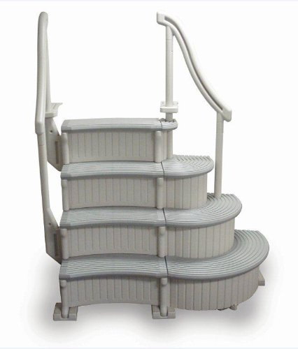 New 4-Step Above Ground Swimming Pool Curved Grand Entry System Steps Stairs