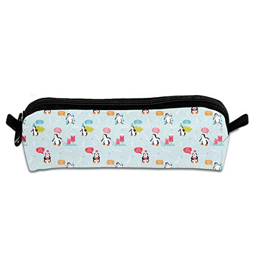 (EQAZV Christmas Tree Plant Penguin Gift Students Canvas Pencil Case Pen Bag Pouch Stationary Case)