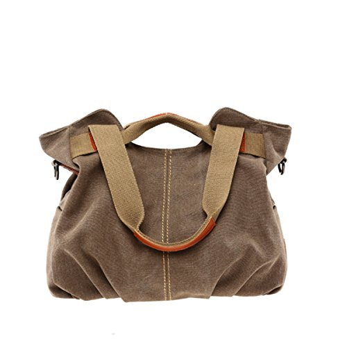 JSBKY Women's Ladies Vintage Casual Hobo Canvas Daily Purse Top Handle Shoulder Tote Shopper Handbag (brown) ()