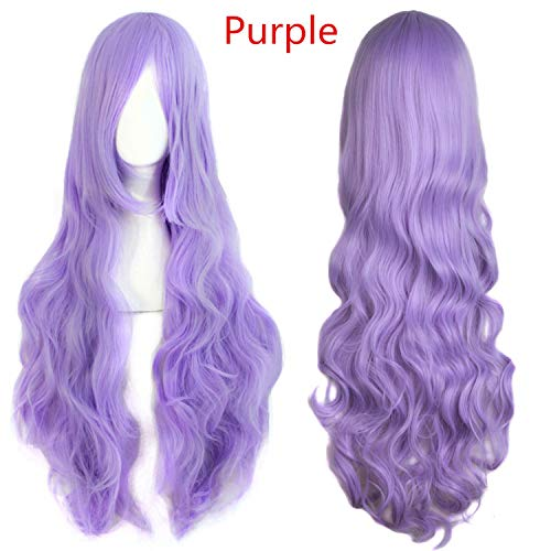 Long Wavy Wigs Fake Bangs 29 Colors Women Wig Heat Resistant Synthetic Hair,Purple,32inches,China