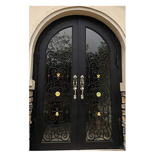 (Simart Wrought Iron Doors Double Exterior Front Entry Double Wrought Iron Glass Door)