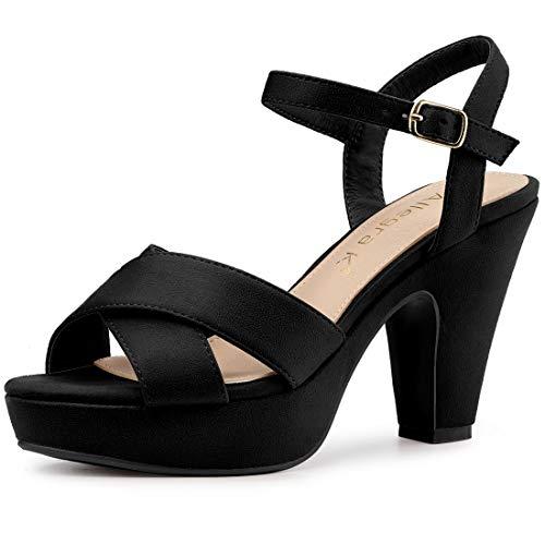 Allegra K Women's Platform Chunky Heel Slingback Black Sandals - 9 M US