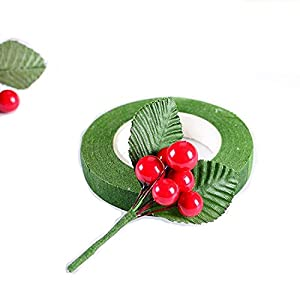 200 Pcs Artificial Small Berries Red Cherry 100 Pcs Fake Green Leaves with 1 Roll Floral Tape for Christmas Tree DIY Gift Decorative 6