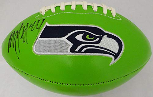 Autographed Football Lynch Marshawn - Marshawn Lynch Autographed Football - Green Logo ML Holo #20991 - Autographed Footballs