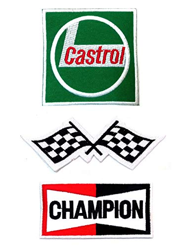 Set_MOTOR002 - Castrol Oil Patch, Auto Racing Patches Set - Motor Patches - Applique Embroidered patches - Iron on Patches - Backpack Patches - Size : Champion Patch ( 9 X 3 Cm.), Racing Flag Patch ( 8 X 8 Cm.), Castrol Oil Patches ( 8 X 8 Cm.)