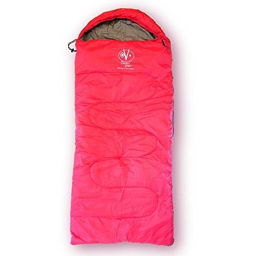 Outdoor Vitals OV-Rascal 40°F Kids Sleeping Bag, 3 Season, Rectangular, Lightweight, Ultralight, Camping, Hiking (Pink, Fits 4'8