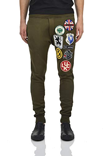 (DSQUARED2 Tracksuit Pants Green with Luck Patches Men - Size: S - Color: Green - New)