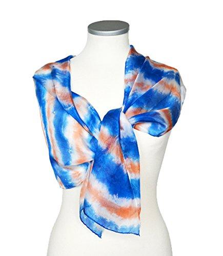 Shibori Silk Scarf Hand dyed Blue Orange Womens Shawl Neck Accessory For Her