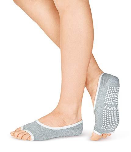 Aerial Toeless Yoga Socks Barre Ballet Pilates Socks With Grip For Women(Gray)