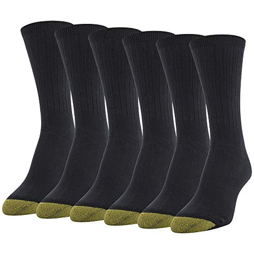 - Gold Toe Women's Casual Ribbed Crew Socks, 6 Pairs, black, Shoe Size: 8-13