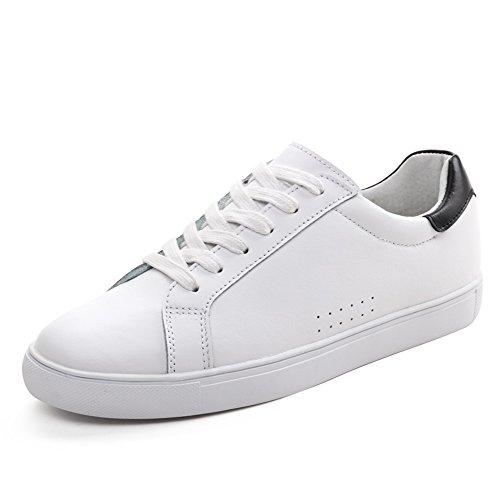 Blanco de cuero zapatos de mujer/Versión coreana de los zapatos de fondo plano/Blanco zapatos de las mujeres/Calzado deportivo y ocio/Zapatos de mujer A