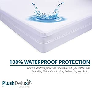 Premium Zippered Mattress Encasement, 100% Waterproof, Bed Bug/Dust Mite Proof And Hypoallergenic Cotton Terry Surface, 6 Sided Mattress Protector (Fits 9''-12'' H) QUEEN SIZE, 10-Year Warranty