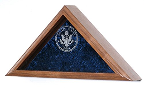 Laser Engraved Glass Flag Case exquisitely crafted in your choice of solid oak, walnut, cherry, or mahogany.