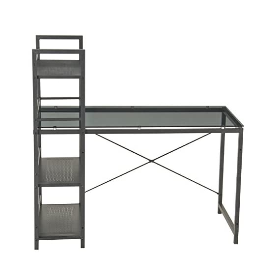 """Techni Mobili Modern Smokey Grey Tempered Shelves Glass Top Computer Workstation, 49"""" W x 25"""" D x 47.5"""" H, - 8mm Smoke tempered Glass surface Scratch resistant powder-coated steel frame painted in Black 3 accessory shelves - writing-desks, living-room-furniture, living-room - 415OqvCzwHL. SS570  -"""
