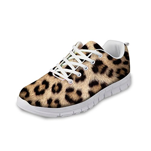 FOR U DESIGNS Stylish Leopard Print Lightweight Walking Mesh Running Shoes For Women US 8