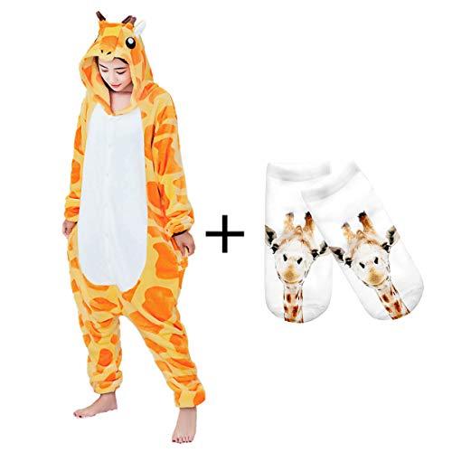 Onesies Adult Costume Anime Giraffe Halloween Pajamas Set Unisex Homewear Socks -