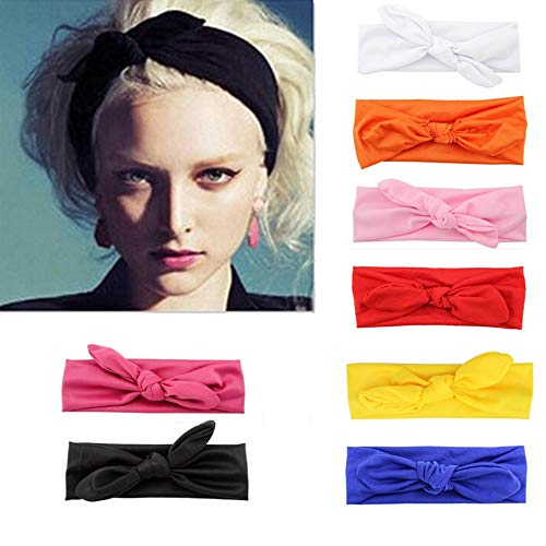 Women Headbands Criss Cross Headwraps Knot Turban Hair Band Bows Accessories for Fashion Or Sport (Pack of 8, Solid Color)