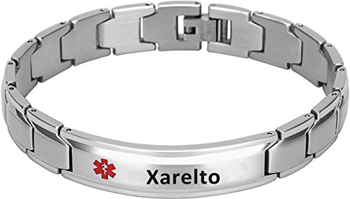 Elegant Surgical Grade Steel Medical Alert ID Bracelet for Men and Women (Men's, Xarelto) ()