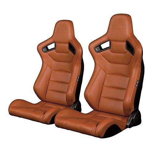 BRAUM - Pair of British Tan Leatherette Carbon Fiber Mixed ELITE Racing Seats (BRR1-BTBS) ()