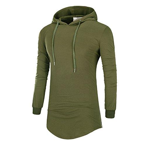 DAVID.ANN Mens Hipster Hip Hop Pullover Longline Side Zipper Long Sleeve Hooded T Shirt,Army Green,Medium