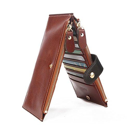 S-ZONE RFID Blocking Women's Genuine Leather Bifold Card Case Wallet Thin Zipper Card Wallet Purse Multi Card Organizer
