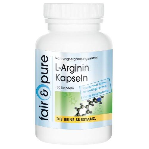 L-Arginin 4500mg (Tagesverzehr) bioverfügbar, 180 Kapseln Reinsubstanz, frei von Hilfs- und Zusatzstoffen, vegetarisch