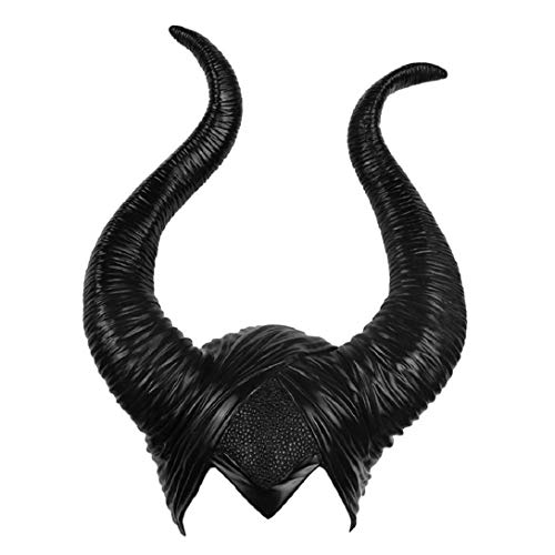 Queen Horns Headgear Halloween Black Mask Cosplay Props House Decoration (Maleficent 1 Long Horns)