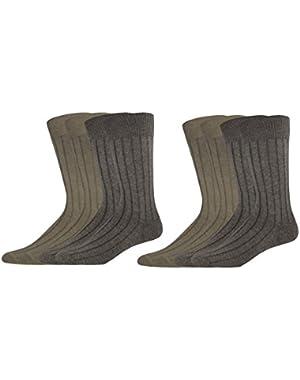 Men's Dress Wide Rib Crew Socks, 8 Pair