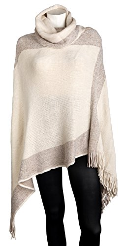 Sportoli Women's Thick Warm Knitted Winter Shawl Cape Poncho Wrap with Cowl Neck - Tan (One Size)