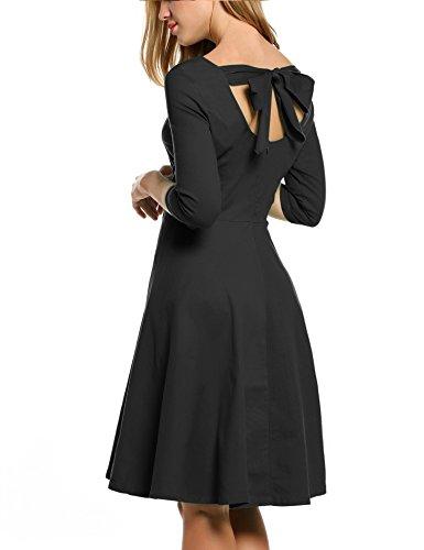 ACEVOG Women Retro A-line Flare Bow 3/4 Sleeve 1950s Party Evening Swing Dress