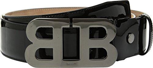 Bally Men's Mirror Adjustable Belt, Black/Black, One Size Bally Leather Belt