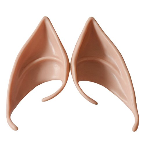 Dealglad 1 Pair Soft Latex Fairy Pixie Elf Fake Ears LARP Halloween Costume Cosplay Party Pointed Prosthetic Tips Ear (Color 2#)]()