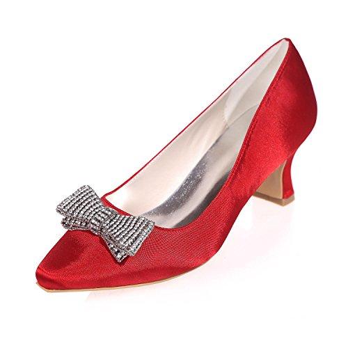 L@YC Frauen Hochzeit High Heel Strass applique Spitz Seide / Party Nacht & More VerfüGbar Farben Red