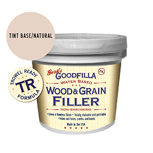 Water-Based Wood & Grain Filler (Trowel Ready) - Neutral/Base - 1 Gallon By Goodfilla | Replace Every Filler & Putty | Repairs, Finishes & Patches | Paintable, Stainable, Sandable & Quick Drying