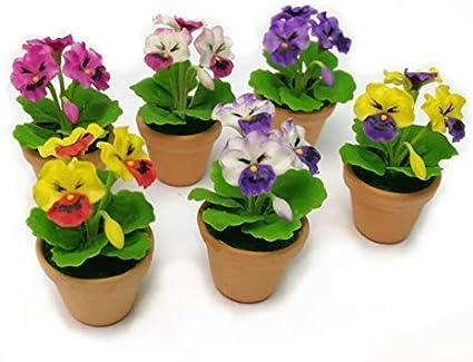 Set of 4 Different Terracotta Flower Plant Pot Dollhouse Miniatures Garden